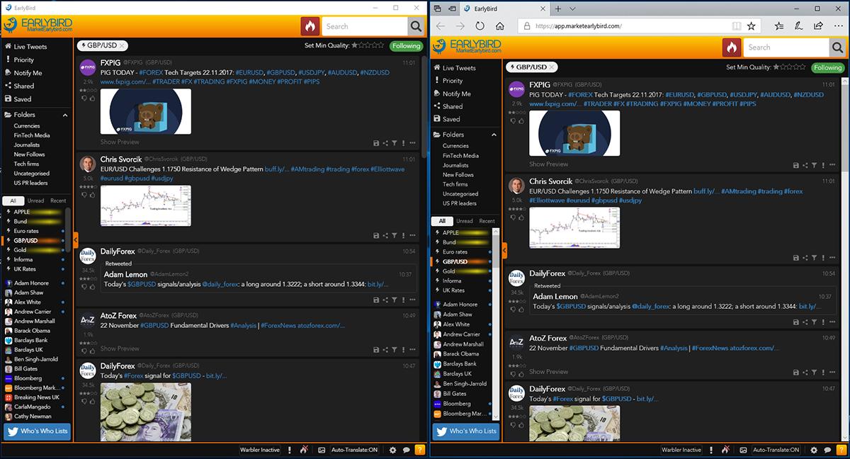Side-by-side comparison of EarlyBird Desktop and EarlyBird Web